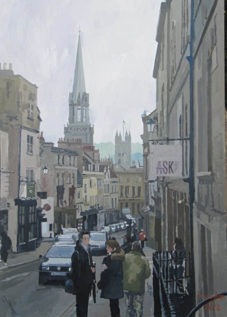 Bath Street Scene (1) Acrylic on board (36 cm x 46 cm ) (Framed and mounted under glass)