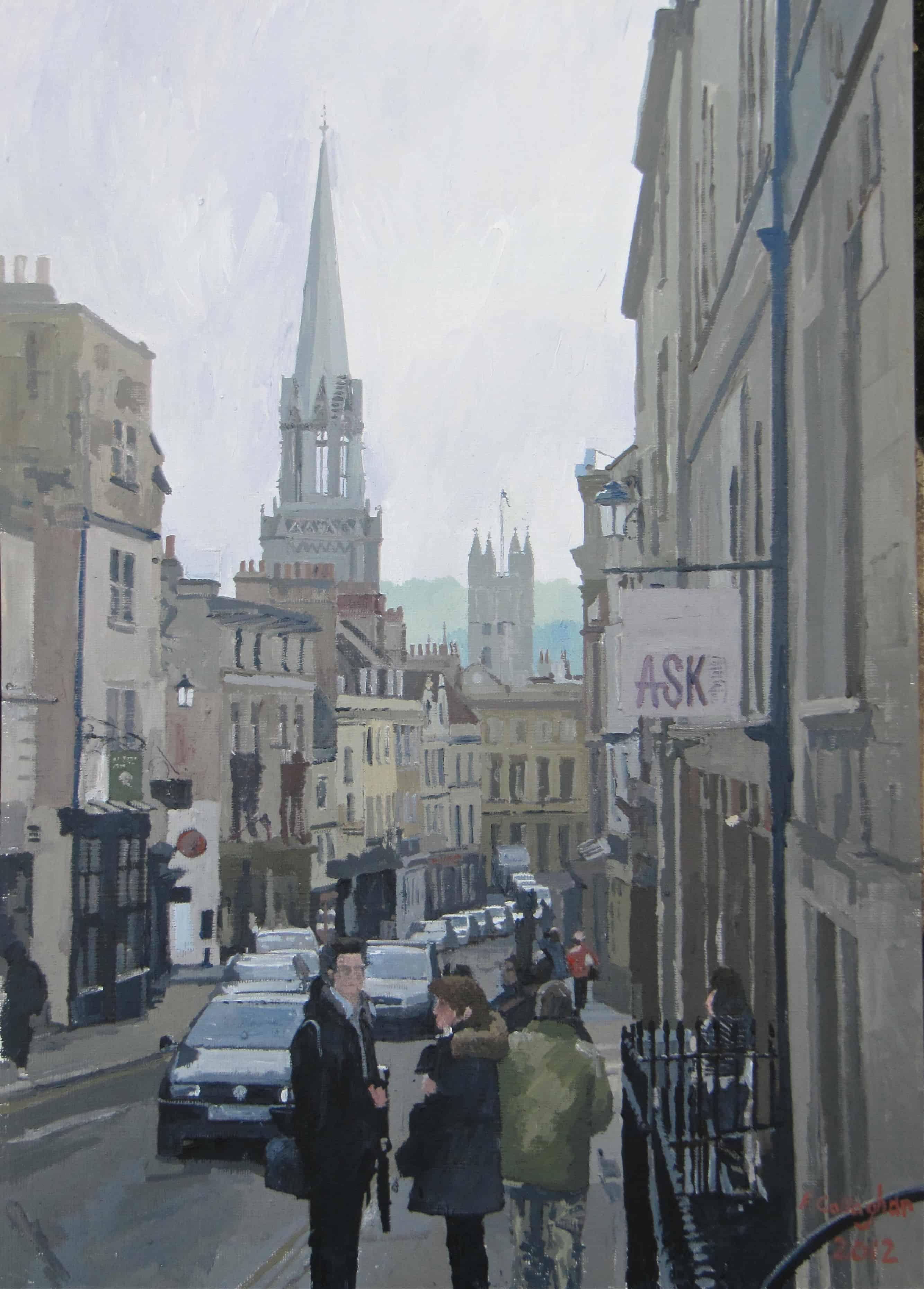 Bath Street Scene (1) Acrylic on board (36 cm x 46 cm ) (Framed and mounted under glass)