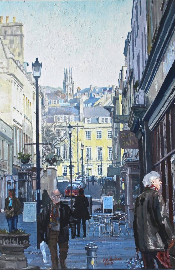 Bath Street Scene Painted in oil on Canvas by Frank Callaghan