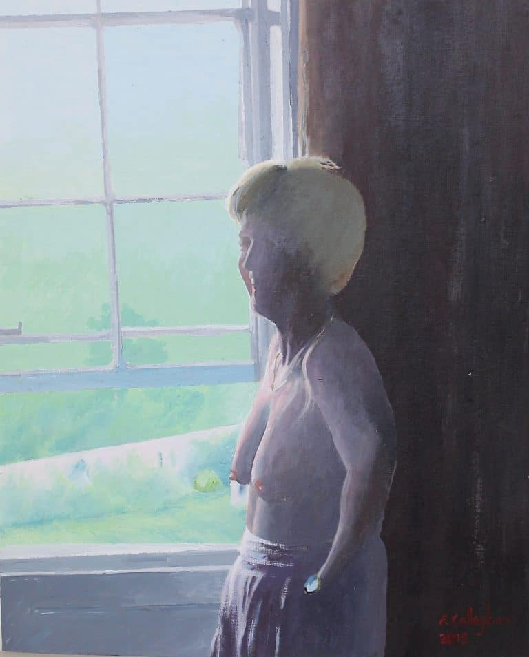 Christine by the Window Acrylic Painting by Frank Callaghan