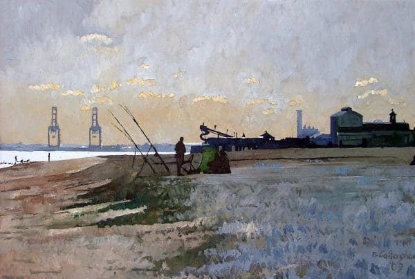 Fishing on Great Yarmouth Beach in Winter