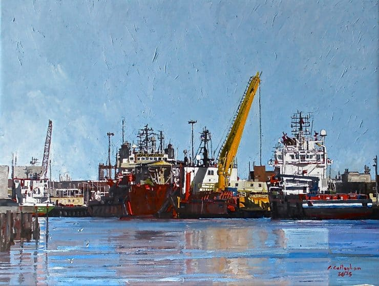 Great Yarmouth Docks from Gorleston Painted by Frank Callaghan