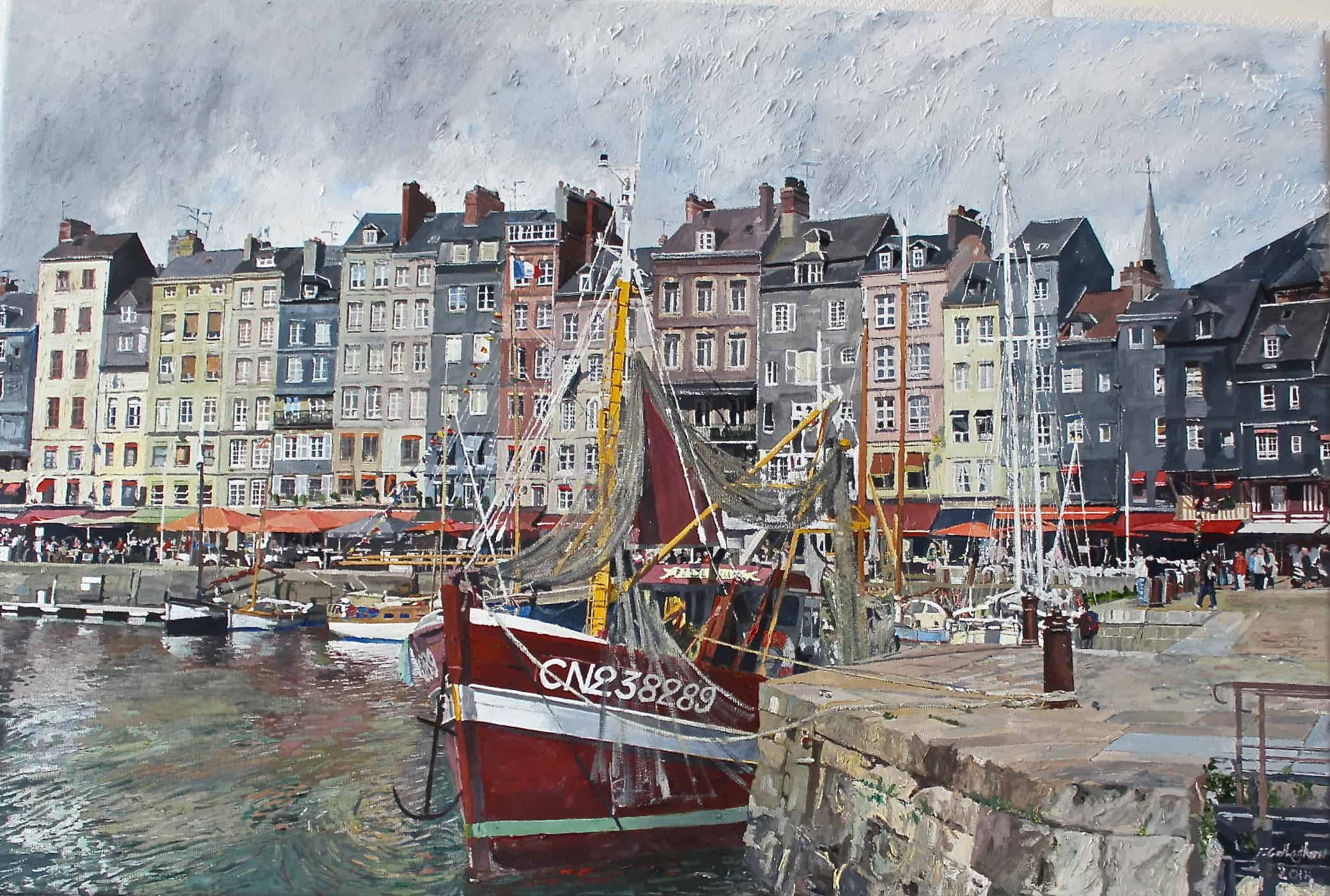 Honflueur Harbour oil on Canvas Painted by Frank Callaghan