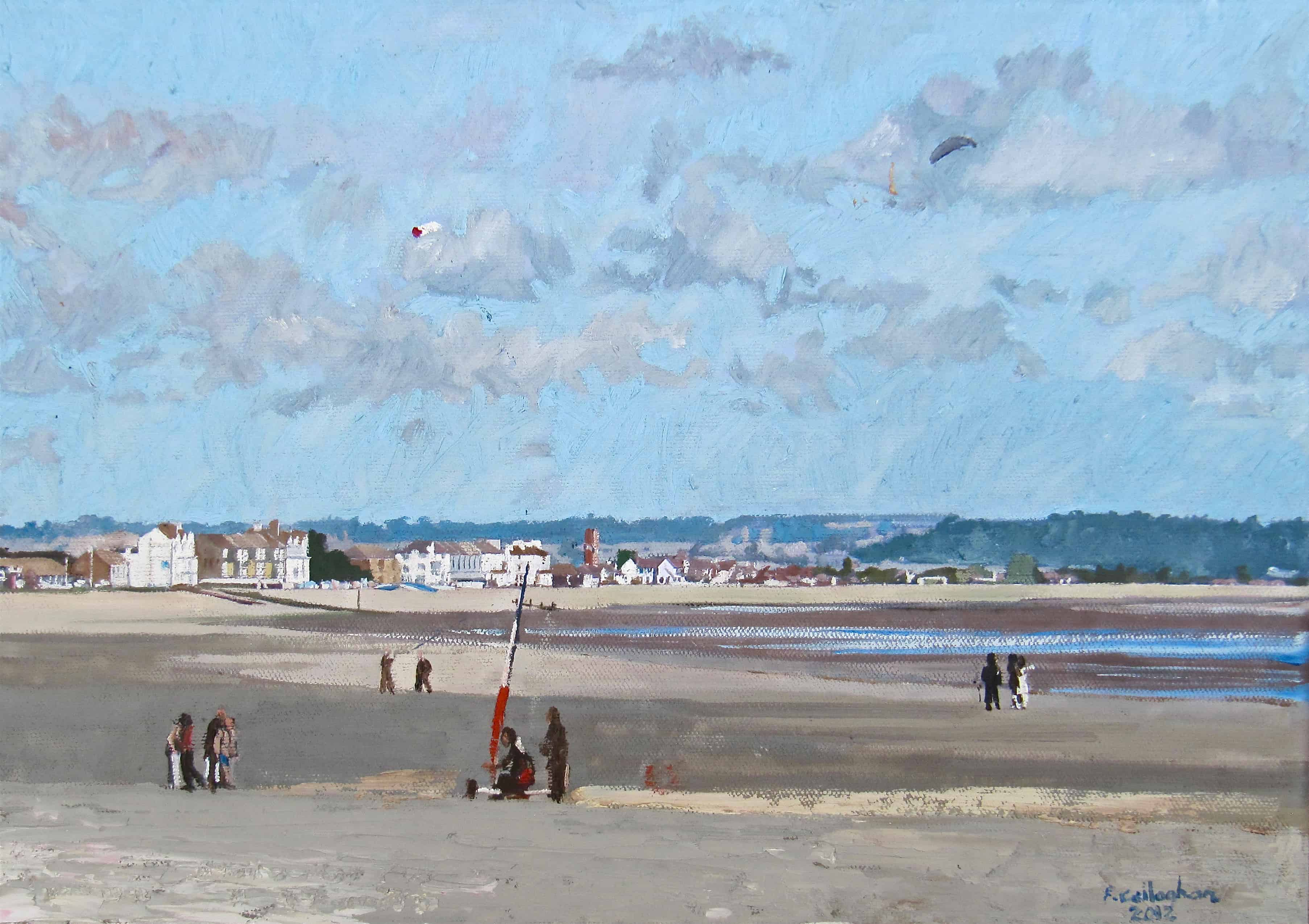 Kite Flying on Dungeness Beach Painted by Frank Callaghan