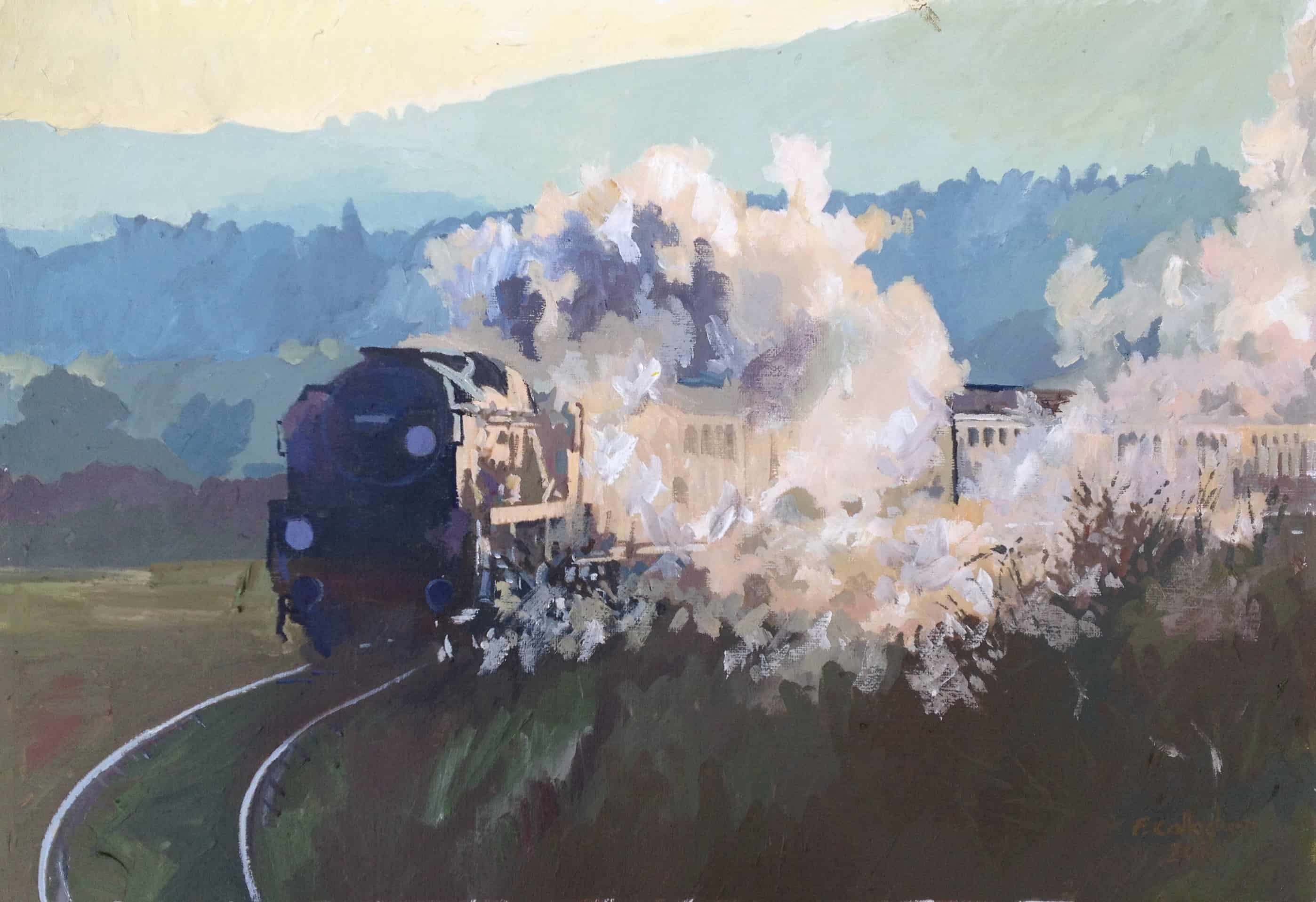Light Pacific locomotive Braunton no 34046 Painted by Frank Callaghan