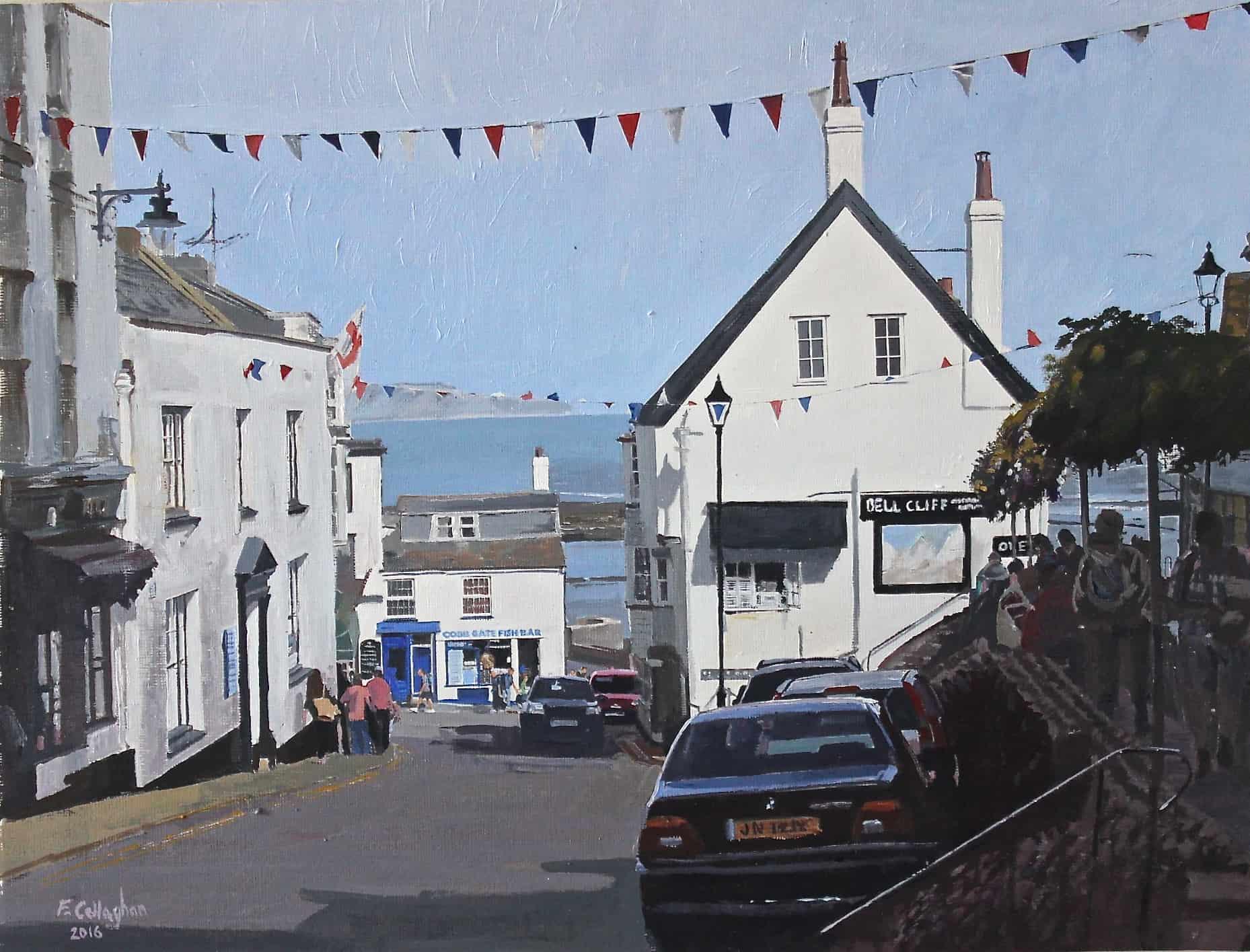 Lyme Regis High Street Painted by Frank Callaghan