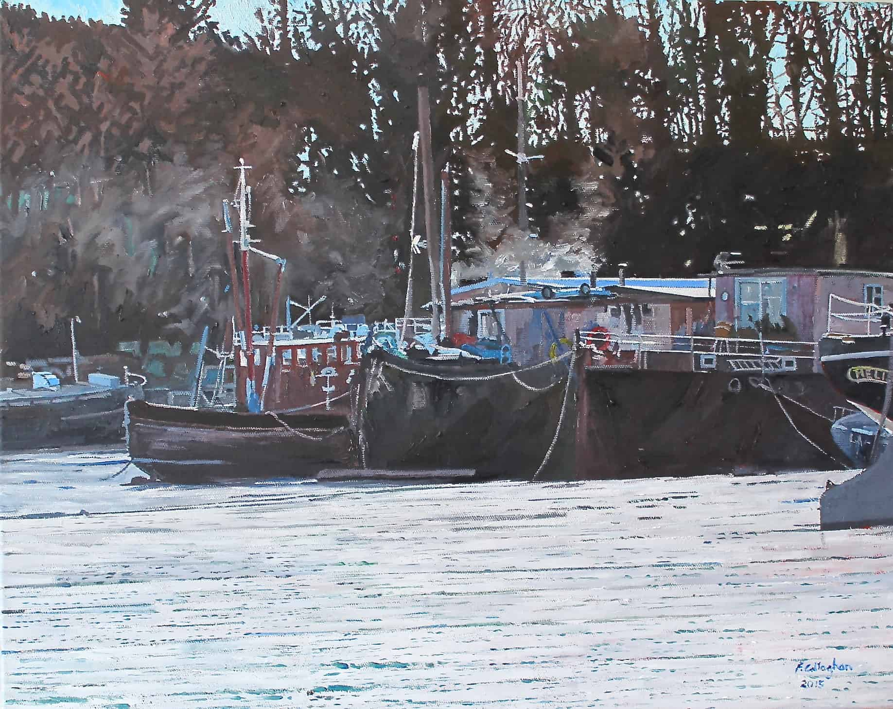 Morning at Pin Mill Painted in Oil by Frank Callaghan