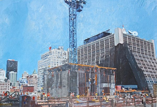 NY Construction site: 42nd Street Painted by Frank Callaghan. A new york construction site captured in an acrylic painting by Frank Callaghan.
