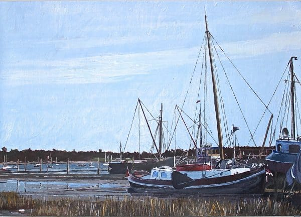 Pin Mill East Anglia Painted by Frank Callaghan in Acrylic