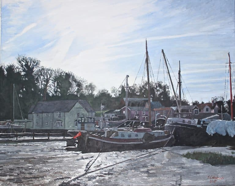 Pin Mill Barges Painted by Frank Callaghan in Oil on Canvas