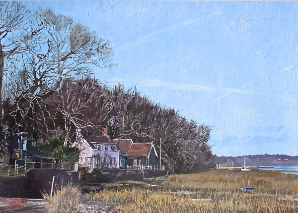 Pin Mill Suffolk Painted by Frank Callaghan in Acrylic paint