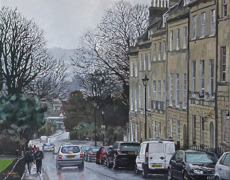Street in Bath Painted by Frank Callaghan in Oil on Canvas