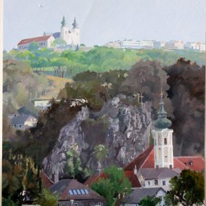 Three crosses Melk The Danube Painted by Frank Callaghan