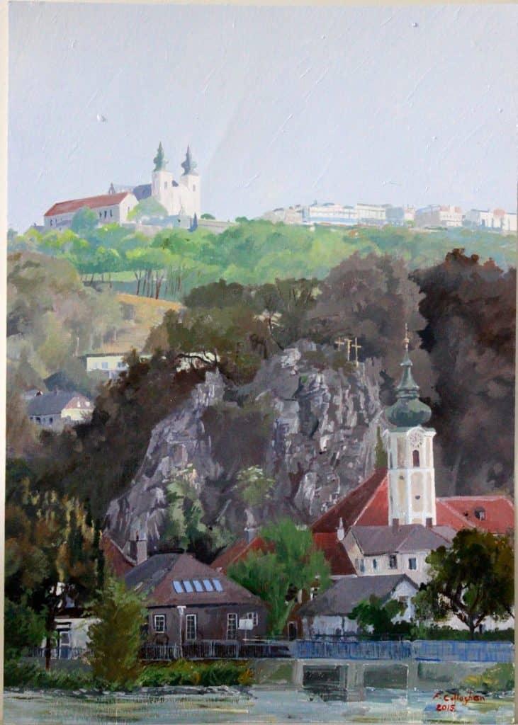 Three crosses Melk The Danube Painted by Frank Callaghan