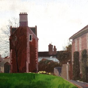 Westbury Wilts St Painted by Frank Callaghan. Acrylic painting