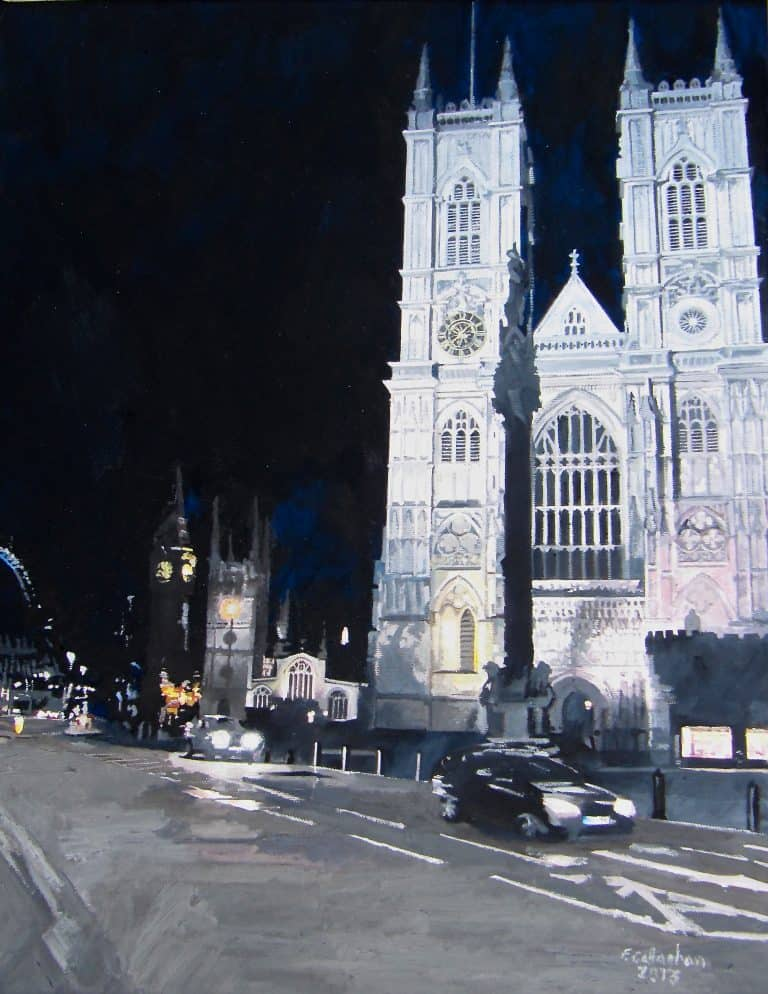 Westminster Abbey January at night Painted by Frank Callaghan