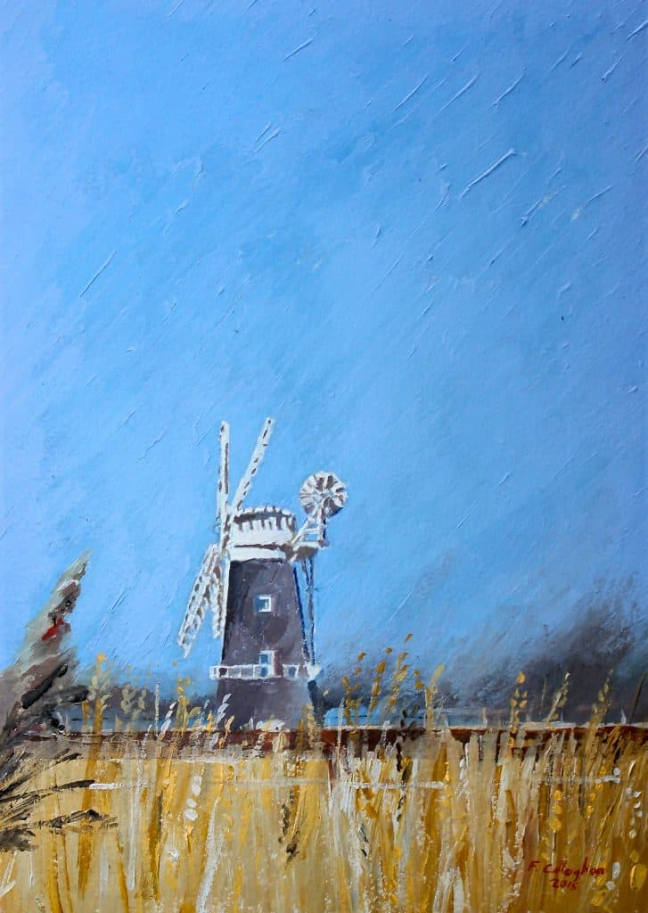 Windmill across Breydon Water Painted by Frank Callaghan